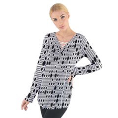 Metal Background With Round Holes Women s Tie Up Tee