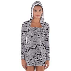 Metal Background With Round Holes Women s Long Sleeve Hooded T Shirt