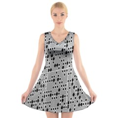 Metal Background With Round Holes V Neck Sleeveless Skater Dress