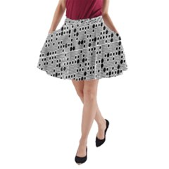 Metal Background With Round Holes A-Line Pocket Skirt