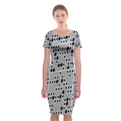 Metal Background With Round Holes Classic Short Sleeve Midi Dress