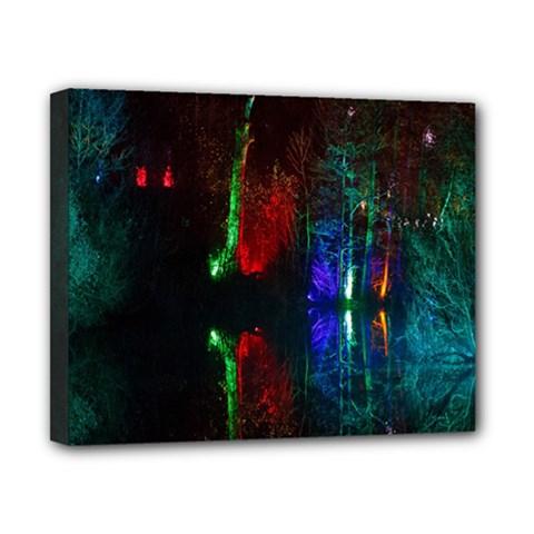 Illuminated Trees At Night Near Lake Canvas 10  x 8