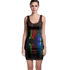 Illuminated Trees At Night Near Lake Sleeveless Bodycon Dress