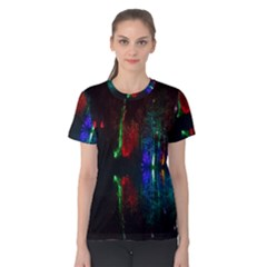 Illuminated Trees At Night Near Lake Women s Cotton Tee