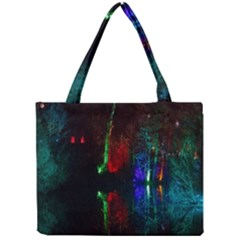 Illuminated Trees At Night Near Lake Mini Tote Bag