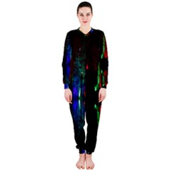 Illuminated Trees At Night Near Lake Onepiece Jumpsuit (ladies)