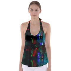 Illuminated Trees At Night Near Lake Babydoll Tankini Top