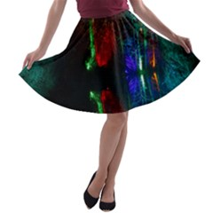 Illuminated Trees At Night Near Lake A-line Skater Skirt