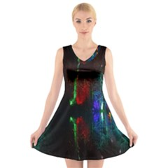 Illuminated Trees At Night Near Lake V Neck Sleeveless Skater Dress
