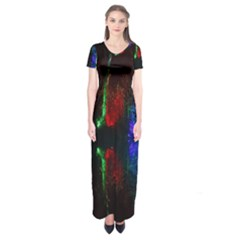 Illuminated Trees At Night Near Lake Short Sleeve Maxi Dress