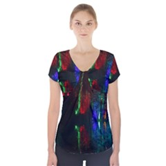 Illuminated Trees At Night Near Lake Short Sleeve Front Detail Top