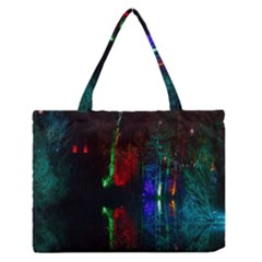 Illuminated Trees At Night Near Lake Medium Zipper Tote Bag
