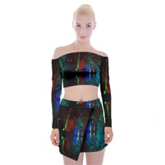 Illuminated Trees At Night Near Lake Off Shoulder Top With Skirt Set