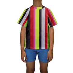 Stripe Background Kids  Short Sleeve Swimwear