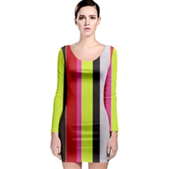 Stripe Background Long Sleeve Bodycon Dress