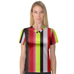 Stripe Background Women s V-Neck Sport Mesh Tee