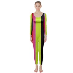 Stripe Background Long Sleeve Catsuit