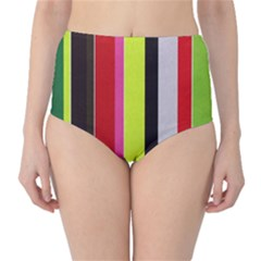 Stripe Background High-Waist Bikini Bottoms