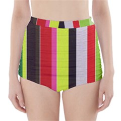 Stripe Background High-Waisted Bikini Bottoms