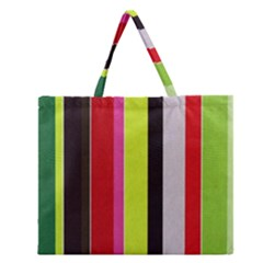 Stripe Background Zipper Large Tote Bag