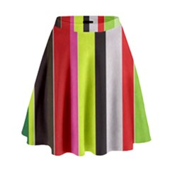 Stripe Background High Waist Skirt