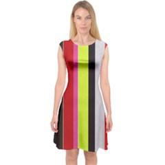 Stripe Background Capsleeve Midi Dress