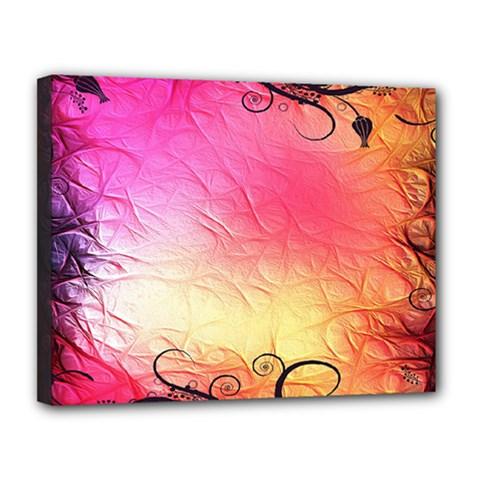 Floral Frame Surrealistic Canvas 14  x 11