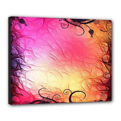 Floral Frame Surrealistic Canvas 20  x 16