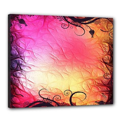Floral Frame Surrealistic Canvas 24  x 20