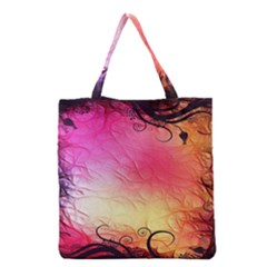 Floral Frame Surrealistic Grocery Tote Bag