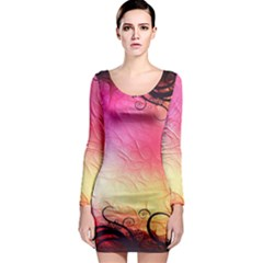Floral Frame Surrealistic Long Sleeve Bodycon Dress