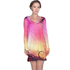 Floral Frame Surrealistic Long Sleeve Nightdress