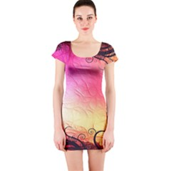 Floral Frame Surrealistic Short Sleeve Bodycon Dress
