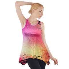 Floral Frame Surrealistic Side Drop Tank Tunic
