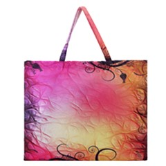Floral Frame Surrealistic Zipper Large Tote Bag