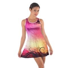 Floral Frame Surrealistic Cotton Racerback Dress