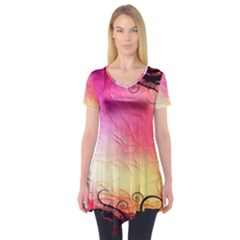 Floral Frame Surrealistic Short Sleeve Tunic