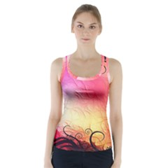 Floral Frame Surrealistic Racer Back Sports Top