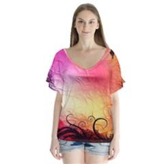 Floral Frame Surrealistic Flutter Sleeve Top