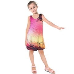 Floral Frame Surrealistic Kids  Sleeveless Dress
