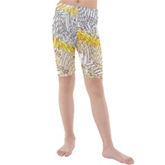 Abstract Composition Digital Processing Kids  Mid Length Swim Shorts