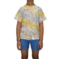 Abstract Composition Digital Processing Kids  Short Sleeve Swimwear