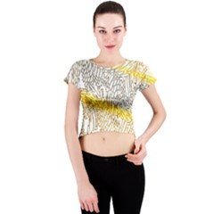 Abstract Composition Digital Processing Crew Neck Crop Top