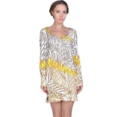 Abstract Composition Digital Processing Long Sleeve Nightdress