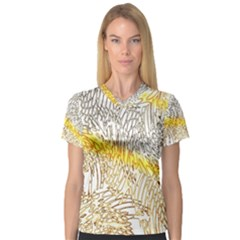 Abstract Composition Digital Processing Women s V-Neck Sport Mesh Tee
