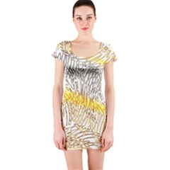 Abstract Composition Digital Processing Short Sleeve Bodycon Dress