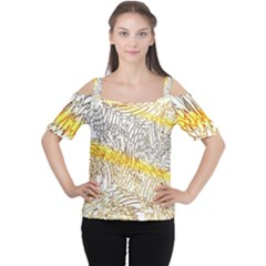 Abstract Composition Digital Processing Women s Cutout Shoulder Tee