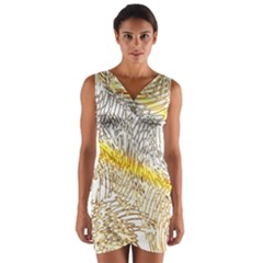 Abstract Composition Digital Processing Wrap Front Bodycon Dress