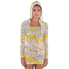Abstract Composition Digital Processing Women s Long Sleeve Hooded T-shirt