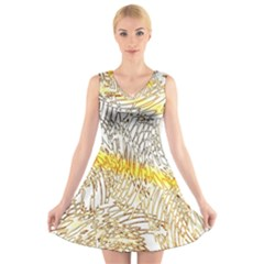 Abstract Composition Digital Processing V-Neck Sleeveless Skater Dress